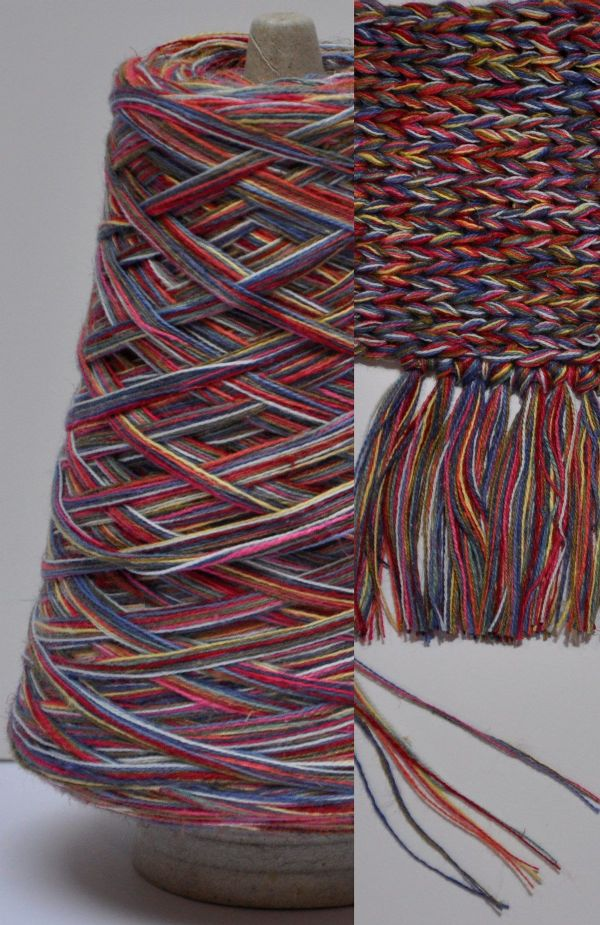 300g cone pink blue melange Chunky Cotton-Linen yarn multiple untwisted ply's